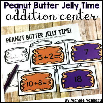 Peanut Butter Jelly Addition Match Game