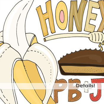 Peanut Butter & Jelly Clip Art - Banana - Chocolate - Cookies - Honey - Food