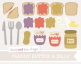 Peanut Butter & Jelly Clipart; Sandwich, Lunch, Bread