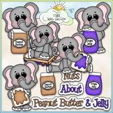 Peanut Butter & Jelly Elephants Clip Art - Sandwich Clip Art - CU Clip Art & B&W