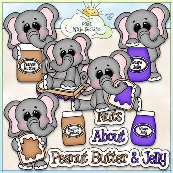 Peanut Butter & Jelly Elephants Clip Art - Sandwich Clip A