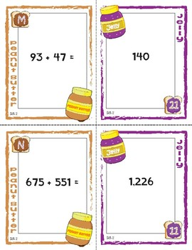 Peanut Butter, Jelly Match Activity: Adding Two Multiple Digit Numbers