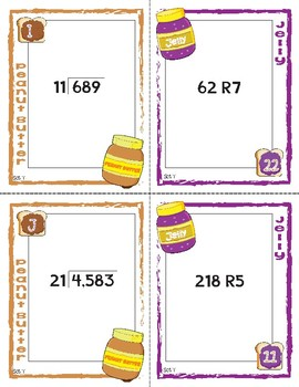 Peanut Butter, Jelly Match Activity: Double Digit Divisor with Remainders