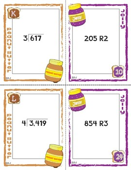 Peanut Butter, Jelly Match Activity: Single Digit Divisor with Remainders