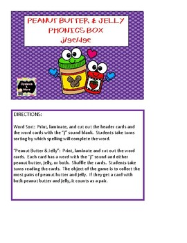 Peanut Butter & Jelly Phonics Box - j, ge, dge