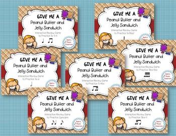 Peanut Butter & Jelly Sandwich Rhythm Reading Game 7 Item BUNDLE (Kodaly Review)