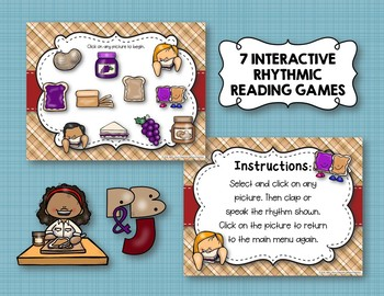 Peanut Butter & Jelly Sandwich Rhythm Reading Game 7 Item BUNDLE (Kodaly Review)
