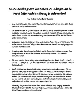 Peanut Butter Math Puzzles 1 CCSS Problem Solving Challenges-2nd Gr 1st Qt Pack