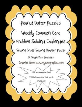 Peanut Butter Math Puzzles 2 CCSS Problem Solving Challenges-2nd Gr 2nd Qtr Pack