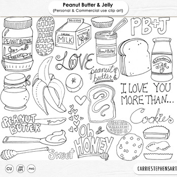 Peanut Butter and Honey, PNG Digital Stamps & Photoshop Brushes