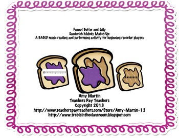 Peanut Butter and Jelly BAGED Recorder Stations or Individual Activities