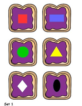 Peanut Butter and Jelly Grouping and Sorting Cards by Shape and Color