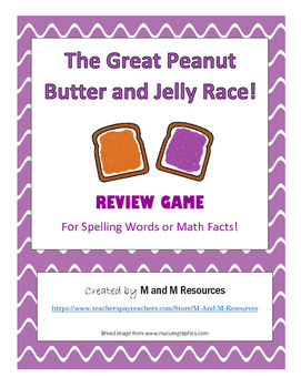 Peanut Butter and Jelly Review Game - spelling or math facts