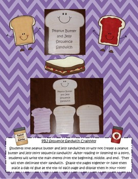 Peanut Butter and Jelly Story Sequence Sandwich Reading Comprehension Craftivity