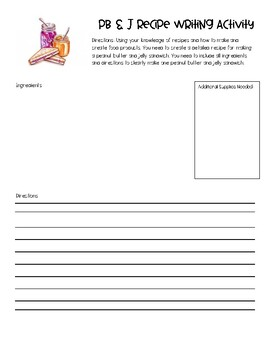 Peanut Butter and Jelly Writing Activity