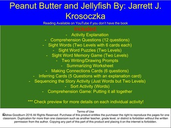 Peanut Butter and Jellyfish, Book Study Comprehension Packet, Friendship Skills
