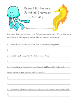 Peanut Butter and Jellyfish ELA Activities