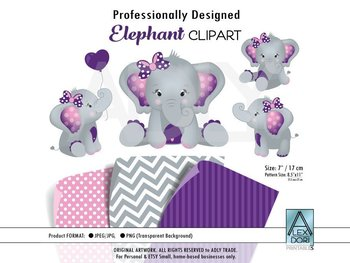 Peanut Elephant SVG Clipart in Purple with 3 Prints - Dots, Chevron & Stripes