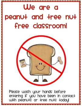 Image result for classroom peanut free sign