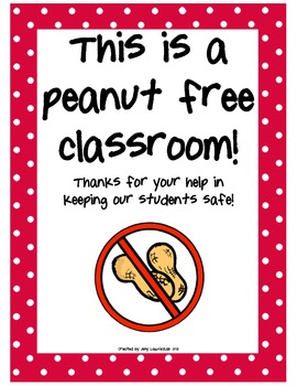 Peanut Free Classroom FREEBIE by The Sparkly Teacher | TpT
