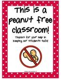 Peanut Free Classroom FREEBIE
