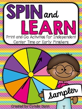 Spin and Learn - Print and Go Activities for Centers & Early Finishers {SAMPLER}
