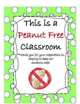 Peanut Free Classroom Sign