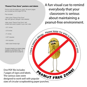 Peanut Free Signs and Labels