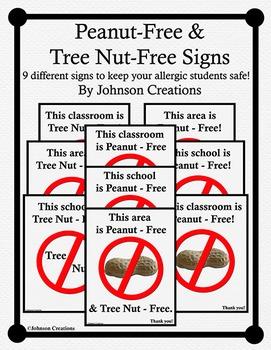 Peanut-Free & Tree-Nut Free Signs