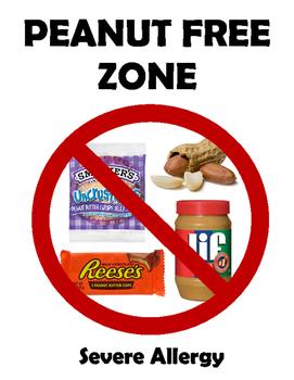 Peanut Free Zone Classroom Poster