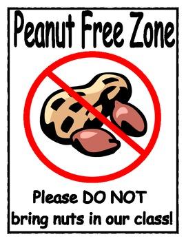 Peanut Free Zone Sign