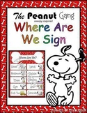Where Are We Sign: Snoopy Charlie Brown The Peanuts Gang T