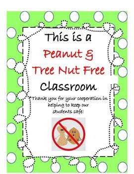 Peanut & Tree Nut Free Classroom Sign