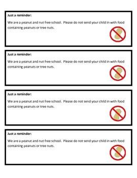 Peanut and Nut Free Reminders