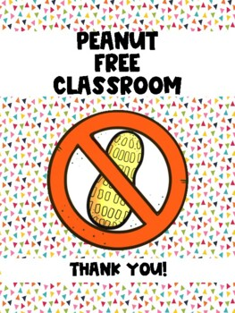 Peanut and Tree Nut Free Classroom Sign