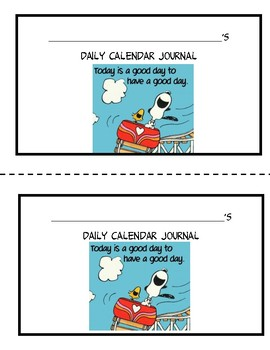 Peanuts Calendar Journal for Beginning of the year