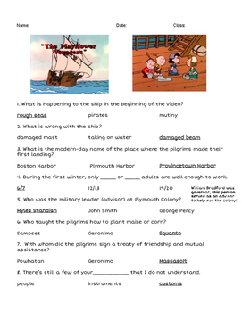 Peanuts Charlie Brown Mayflower Voyagers Video Guide-FUN-Thanksgiving