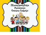 Peanuts, Charlie Brown, Snoopy Center labels