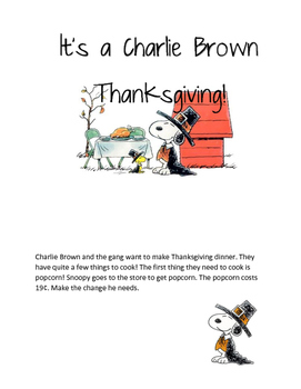 Peanuts Coin and Money Thanksgiving Booklet