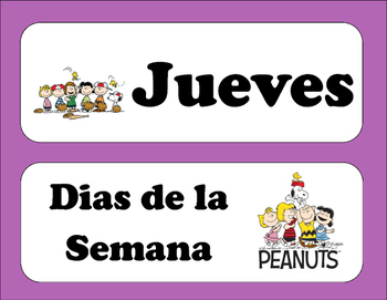Peanuts Days of the Week (Spanish)