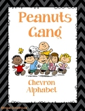 Peanuts Gang- Charlie Brown- Chevron Alphabet in Cursive