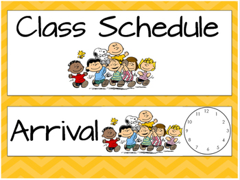 Peanuts Gang- Charlie Brown Chevron Schedule Cards