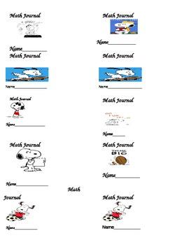 Peanuts Math Journal Labels