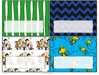 Peanuts Pattern Labels and Binder Title Pages in Six Sizes
