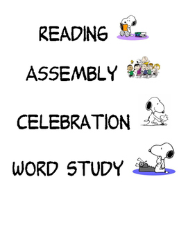 Peanuts Subject Cards-with extra subjects