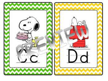 Peanuts Theme Alphabet Cards