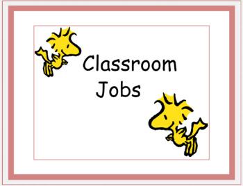 Peanuts Theme Classroom Job Chart Full Version