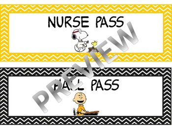 Peanuts Theme Hall Passes