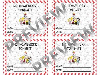 Peanuts Theme No Homework Coupon