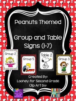 Peanuts Themed Group and Table Signs